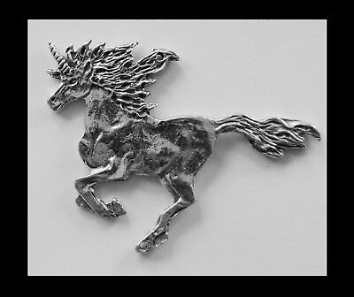 PEWTER CHARM #195 UNICORN GALLOPING 2 holes double sided 65mm x 55mm joiner