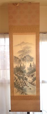 Japanese Hanging Scroll Kakejiku Tree  Mountain  River Painting Art