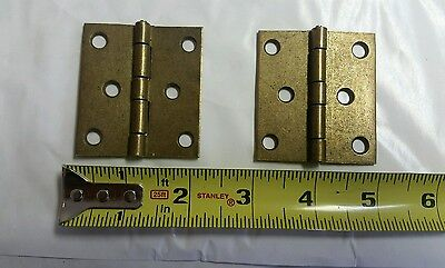 Pair of vintage brass plated 2 by 2 1/4 inch hinges