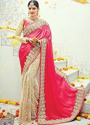 Latest Indian Designer Pakistani Pink Bridal Sari Wedding Saree Ethnic Wear