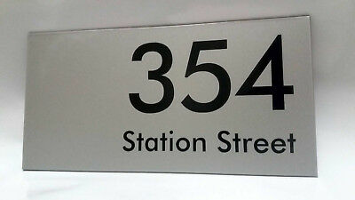 Satin Silver House Address Signs 300mm x 150mm