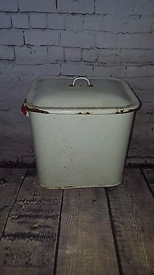 Antique Vintage Enamel Farmhouse Shabby Chic Bread Flour Bin Tin Kitchenalia Pot