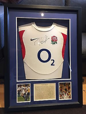 Martin Johnson England Signed Rugby Shirt FRAMED 2003 WORLD CUP