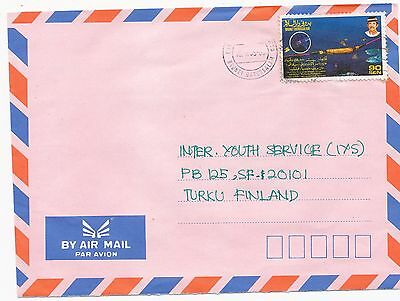 Brunei Darussalam 1995 fibre sea cable and fish stamp on cover to Finland