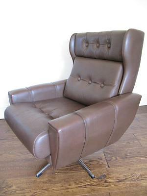 RETRO 70s LEATHER SWIVEL ARMCHAIR CHAIR 60s VINTAGE MID CENTURY MODERN