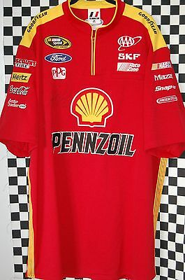 Joey Logano #22 SHELL Pit Shirt NASCAR RACE USED SIZE 3XL AUTOGRAPHED By Joey