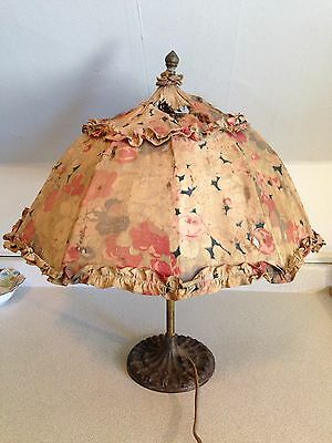 Antique Rose Bros & Co Cast Brass Lily Pad Umbrella Table Lamp, Ultra Rare