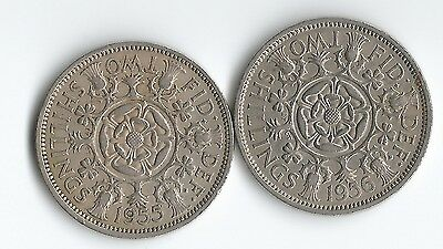 2 Florin(two shilling) coins 1955 & 1956 Queen Elizabeth II - UK postage free