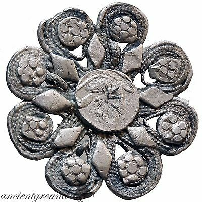 1300-1400 Ad European Silver Floral Ornament Applique