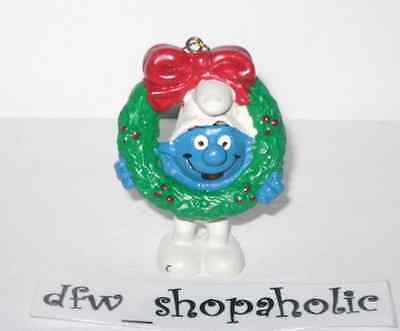 Vintage 1981 SMURFS Christmas Ornament WREATH Smurf Schleich Portugal RARE