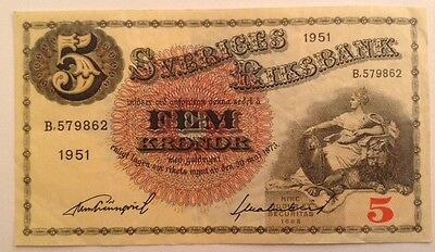 Sweden Banknote. 5 Kronor. Dated 1951