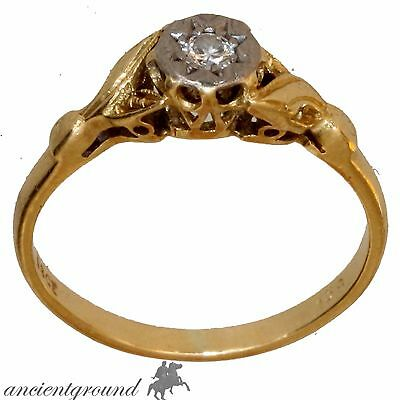Vintage 18 Carat Gold British Ring With 0.20 Carat Diamond