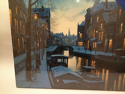 XMAS LED LIGHT UP CANAL Street SCENE CANVAS CHRISTMAS DECORATION PICTURE w TIMER