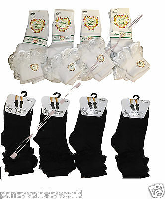 6 Pairs of Kids Girls Lace Socks, Frilly Chic  White Black Ankle School Socks