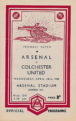 ARSENAL v Colchester (Friendly) 1947/8 Absolute MINT!