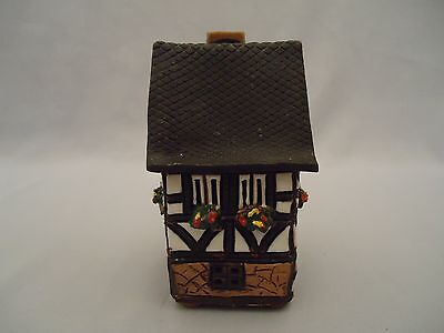 Handarbeit Clay Pottery English Tudor House Cottage Votive Holder Incense German