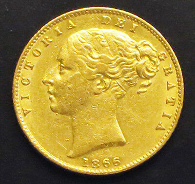 "1866 Great Britain Gold Sovereign -  ""bu"" -  Km#: 736.2"