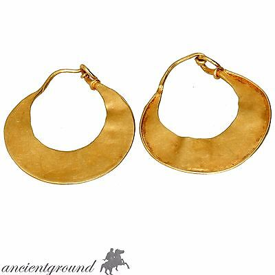 Museum Quality Ancient Greek Pair Of Crescent Earrings Circa Circa 500-300 Bc