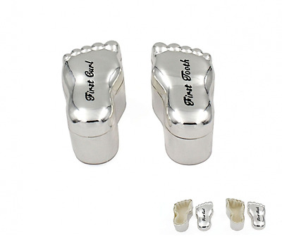 Silver Plated Baby Feet 1St Curl & Tooth Box