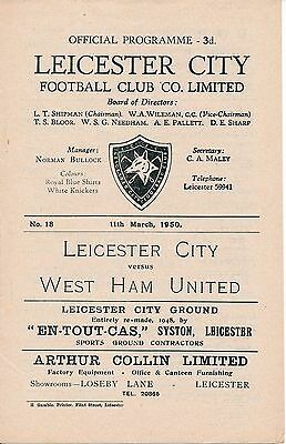 LEICESTER v West Ham United 1949/50 Football Programme