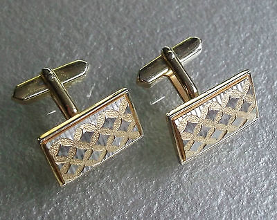 VINTAGE CUFFLINKS 1960s 1970s MOD GOLDTONE SILVERTONE INSET METAL RETRO CHECKS