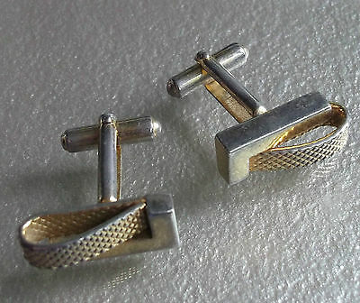 VINTAGE CUFFLINKS 1960s 1970s MOD AGED GOLDTONE METAL MODERNIST RETRO DESIGN