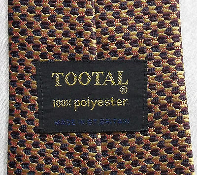 TOOTAL VINTAGE TIE 1970s RETRO MOD CASUAL NECKTIE GOLD BURGUNDY SHIMMERY PATTERN