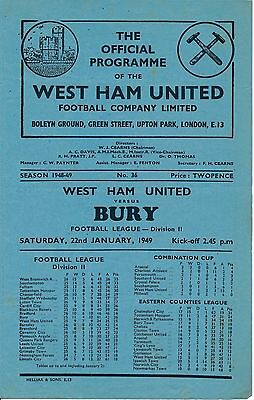 WEST HAM v Bury 1948/9 - Football Programme