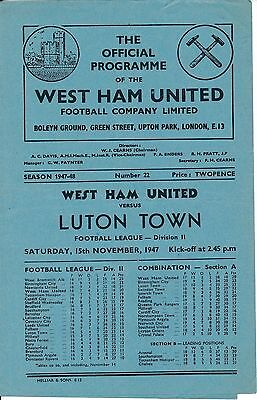 WEST HAM v Luton Town 1947/8 - Football Programme