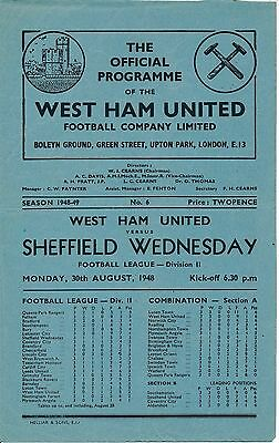 WEST HAM v Sheffield Wednesday 1948/9