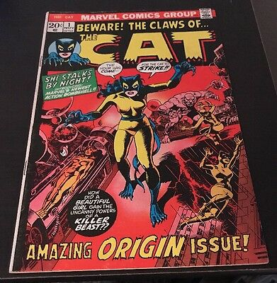 THE CAT #1 FN+ Origin & 1st Apprearance of The Cat Marvel Bronze Age KEY Comic