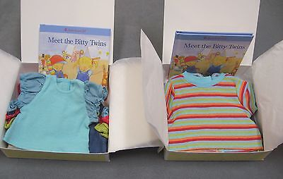 NEW American Girl Bitty Twins Girl Denim Jumper & Boy Overalls Sets Retired RARE