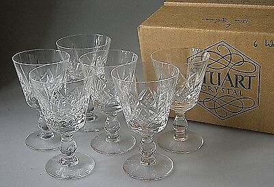 Set of SIX Stuart Crystal GLENGARRY Wine Glasses Boxed - 11.5cm high UNSIGNED
