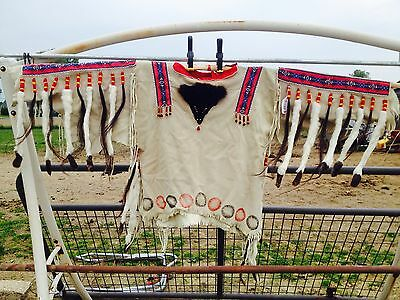 Authentic Handmade Indian Native American  WAR Shirt w/horse hair and ermine