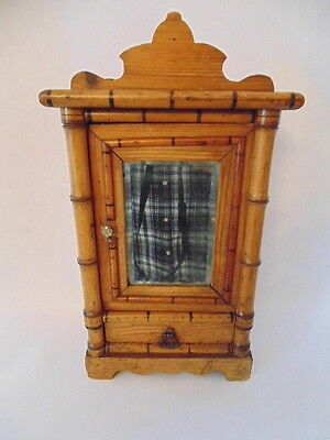 "Antique Pine French Miniature Dolls House15.25"" High Armoire Wardrobe c1880-1900"