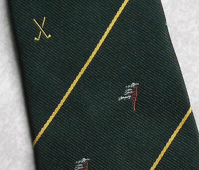 GOLF CLUB TIE EMBLEM MOTIF CREST GOLFING DARK GREEN VINTAGE 1970s SHARPS FREEMAN
