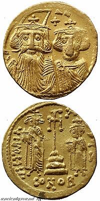 Byzantine Gold Solidus Coin Constans Ii 641-668 Ad Constantinople