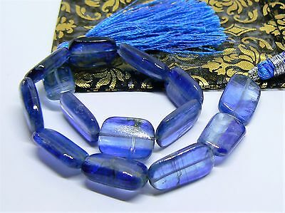 """AAA RARE GENUINE NATURAL GEM BLUE KYANITE NUGGET BEADS  125cts 15-17mm 9"""" STRAND"""