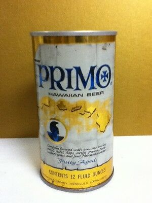 "Primo hawaiian fully aged metal pull top 1974 beer can 12 oz. 4.75"" Milwaukee O4"
