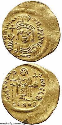 Byzantine (300-1400 Ad) Coins & Paper Money Maurice Tiberius Gold Solidus Coin Byzantine Constantinople Xf 582-602 Ad