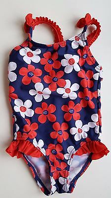 GEORGE baby girl 12-18 months blue red white floral one piece swimming costume