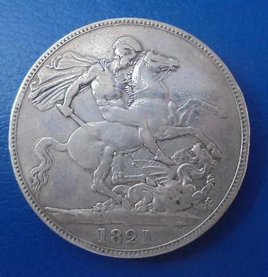 Great Britain 1821 SECUNDO King George IIII Silver Crown Coin Very Fine