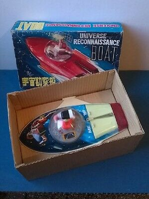 UFO RECONNAISSANCE BOAT Astronave latta(Space Tin Toy)60's Vintage IN BOX rare!!