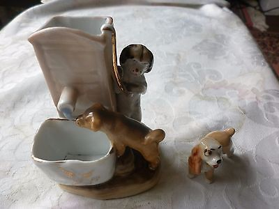 Victorian Fairing China Spill Vase featuring Two Dogs Drinking at Water Pump