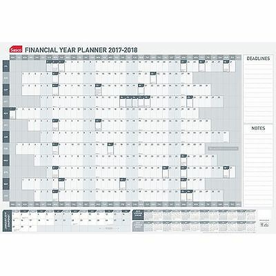 SASCO FINANCIAL YEAR WALL PLANNER 2017/18 Grey/White 870 x 610mm 3621718 #