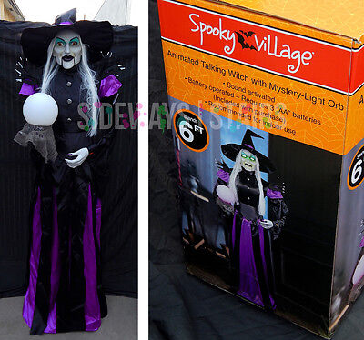 rare 6FT ANIMATED TALKING WITCH W/ GLOW ORB HALLOWEEN PROP light sound talking