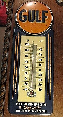 Large Vintage Style Official Gulf Metal Thermometer Gulfpride Oil Texaco Chevron