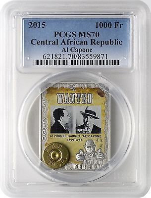 2015 1000 Fr Central African Rep History of Public Enemies Al Capone PCGS MS70