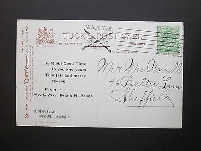 GB KEVII 1/2d Postcard Posted in Advance for Christmas MANCHESTER XMAS 1908 m/c