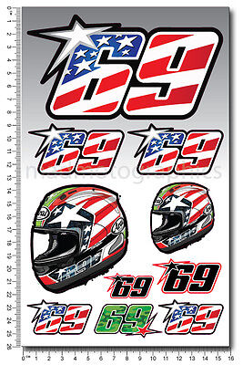 Nicky Hayden 69 Aufkleber set blatt Laminiert 10 stickers MotoGP Kentucky kid